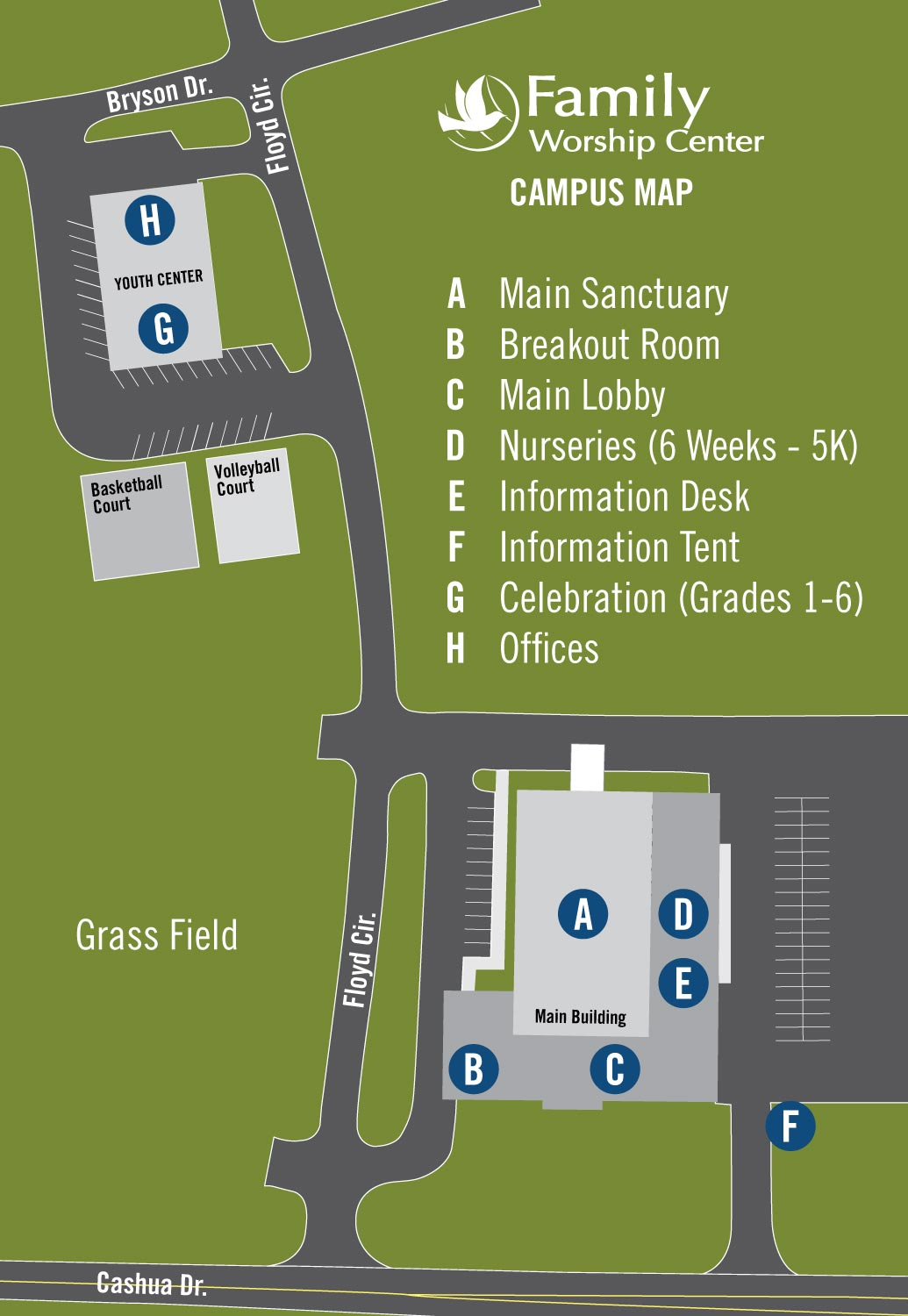 Family Worship Center Church - Florence Campus Map 2016